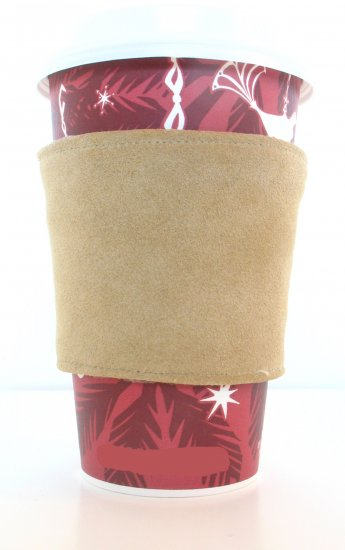 coffee cozi : tan suede, brown velvet : reversible - Click Image to Close
