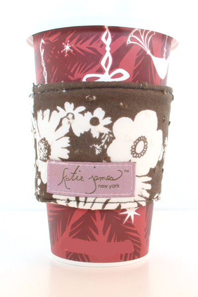 brown floral cotton coffee cozi