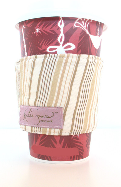 tan striped cotton coffee cozi